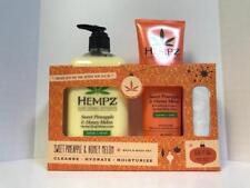Hempz SWEET PINEAPPLE MELON Bath & Body Set - Body Moisturizer, Body Wash & Bag