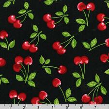 BY YARD-Fruit Basket Cherry Fabric Robert Kaufman EVK-6695-2 Black