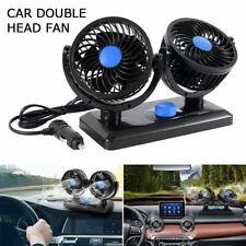 12V Car Dual Head Fan Portable Vehicle Truck 360° Rota Auto Cooling Cooling Fan