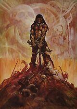 BARBARIAN Frank Frazetta Vintage Art 1974 Full Color Plate Fantasy GGA Skull