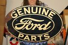 """Rare Vintage 1930's Genuine Ford Parts Gas Oil 2 Sided 24"""" Metal Sign"""