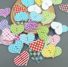 20pcs Wood Sewing Scrapbooking Buttons LOVE Heart  2 Holes Lattice Pattern 20mm