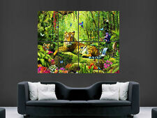 TIGER JUNGLE POSTER FLOWERS INSECTS TREES BIRDS  ART PICTURE PRINT LARGE  HUGE