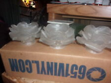 Vintage Lot of 3 Frosted petal glass light shades, rose petal