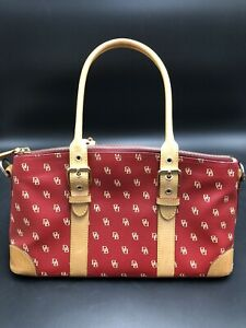 Dooney & Bourke Red & Tan Logo Purse/Shoulder Bag/Satchel, Gently Used