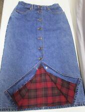 Eddie Bauer Red Plaid Flannel Lined Blue Denim Jean Skirt 8 P Petite Cotton