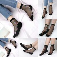 Women's Fashion Lace Crystal Glass Silk Short Thin Transparent Rose Socks Black