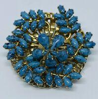 Retro 1950s Art Deco Czech Glass Turquoise Cabochon Trembler Flower Power Brooch