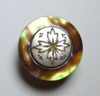 Bouton ancien - Nacre / Métal - XVIIIe / XIXe - 17 mm - Vintage MOP Button