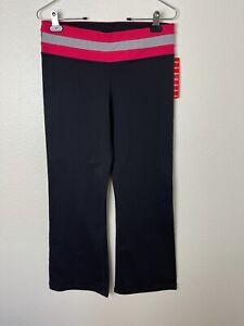 KIRKLAND SIGNATURE Women Medium Short Flare Leg Black/Pink Reversible Yoga Pants