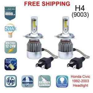 2 Bulbs H4 HB2 9003 CREE LED Headlight Hi/Lo Bulbs 6000K Honda Civic 1992-2003