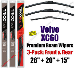 Wipers 3-Pack Premium Front Rear - fit 2010-2011 Volvo XC60 - 19260/200/15G