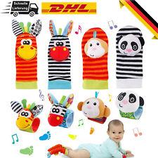 8 Stück Tier Weiche Baby Socken Spielzeug Handgelenk Rassel und Fuß Finder Säugl