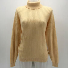 Burberrys Yellow Cable Knit Turtleneck Sweater Size Large