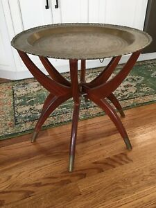 Vintage Moroccan Solid Brass Coffee Tray Table Mid Century Modern MCM Wood Asian