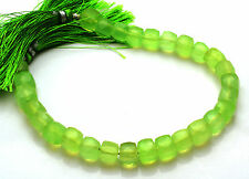 """Natural 8"""" Best GREEN Chalcedony Faceted 3D Cube BOX Briolettes Beads 7-8 MM"""
