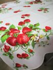 vtg+WILENDUR+RED+STRAWBERRY+%26+Blossom+Tablecloth+%22MINTY%22+Fabric+Cottage+Kitchen