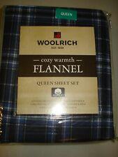 """Woolrich QUEEN XDeep flannel sheet set -Blue plaid 16"""" H mattress"""