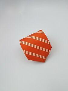 Brooks Brothers Stain Resistant Silk Tie Orange White Stripes 60 x 3.5
