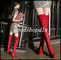 Sexy Womens Patent Leather Pointy Toe Knee High Boots Club Dance Stilettos Shoes