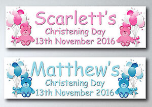 PERSONALISED TEDDY BEAR CHRISTENING, BAPTISM, NAMING DAY LARGE PAPER BANNER L@@K