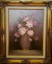 """ANTIQUE BAROQUE FRAMED VINT OIL PAINTING 16""""x12"""" CANVAS SIGNED ROBERT COX FLORAL"""
