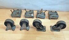 4 Set alte antike Räder, Bockrollen, Industrierollen, Lenkrollen