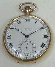 Antique Hamilton GF 19 Jewel Adjusted 5 Position Thin Movement Pocket Watch