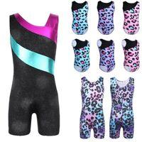 Girls Ballet Leotards Gymnastics Kids Leopard Unitard Dance Jumpsuit Dancewear