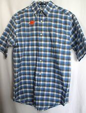"NWT! Men's S Blue Plaid Shirt No Wrinkle ""ST. JOHN'S BAY"" Button-Down MSRP $36"
