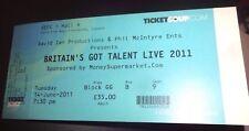 Britiain's Got Talent Live Used Concert Ticket - Glasgow 2011