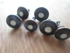 """6 Antique Wooden Knobs Mother Of Pearl Inlay w Screws - 4 are 1 1/2"""" D 2 1 1/4"""""""