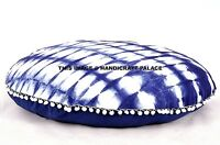 81.3cm Indien Rond Bleu Teinture Mandala Coton Sol Coussin Housse Pouf Ottomane