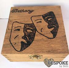 Personalised Wood Jewellery Memory Keepsake Box Theatre Mask 12cm Valentine Gift