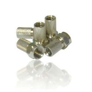 5 x Screw/Twist on F Connectors Fits Satellite TV Aerial Coax Coaxial Cable