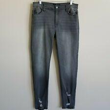 KanCan Estilo Skinny Jeans Gray Distressed Fray Women's 15/31 Actual 34/30