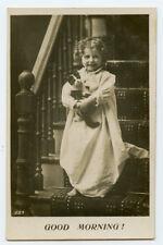 c 1910 Cute Little Girl w/ Cat Good Morning photo postcard