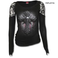SPIRAL DIRECT Ladies Goth CRUCIFIX Skull Cross Lace Top L/Sleeve All Sizes