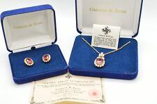 Camrose Kross Jacqueline Jackie Kennedy Ruby Drop Pendant Necklace Earrings NIB