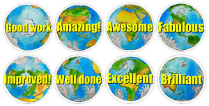Globe School reward stickers - ideal for Geography, environment / planet project