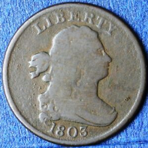 1803 Draped Bust Half Cent in fine condition