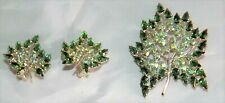 B David Green Leaf Rhinestone Brooch & Matching Clip Earrings Signed Vintage