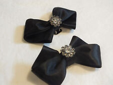 "Collectible Shoe Clip Set 2 Black Ribbon Clear Rhinestones 3 x 1 3/4"" NICE"