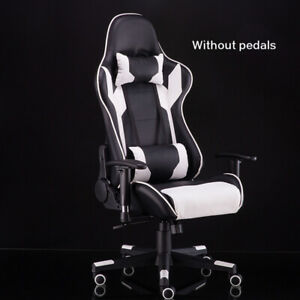 RGB Gaming Chair Office Home Leather Chair Adjustable Executive Black White