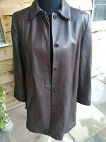Ladies Marks And Spencer's Brown Leather Coat Jacket Size 18