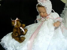GOWN VICTORIAN FOR REBORN DOLL OR BABY SIZE 0-3 MTH PAGEANT BAPTISM WEDDING