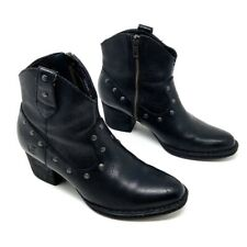 Born Cowboy Ankle Boots Black Leather Studded Western Booties 6.5 EU 37 M Womens