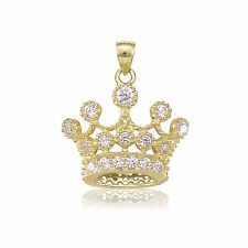 10K Solid Yellow Gold CZ Crown Pendant - Cubic Royal Necklace Charm Women Men