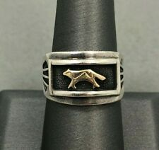 Native American Navajo Style Sterling Silver & 14k Gold Wolf Ring ~ Signed