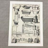 1880 Antik Werbe Aufdruck Badewanne Betten Boxen Viktorianisch Original